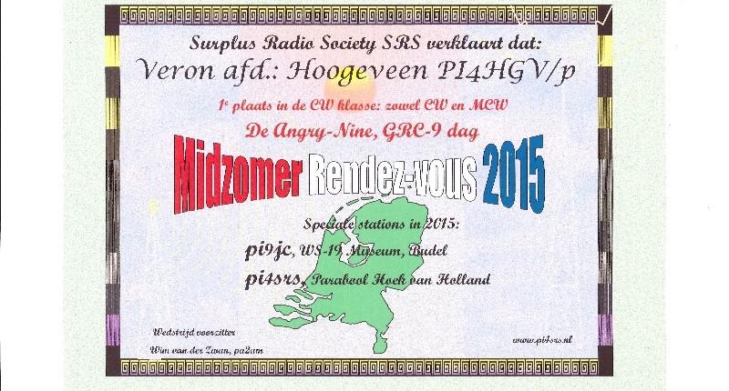 In juni 2015 werd tijdens de velddagen deelgenomen door Henk PA0HTT aan het Midzomer Rendez vous,georganiseerd door de SRS,onder de call PI4HGV En dit heeft geresulteerd in een 1e plaats Een pluim voor Henk is hier wel op zijn plaats
